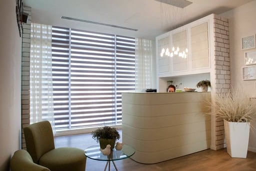 Zebra shades that allows for a versatile lighting effect and a distinctive look. With optional electric control