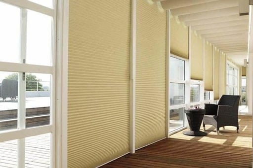 A Duet shading system, comes in a wide variety of colors and fabric types, with thermal coating for heat and sun blocking